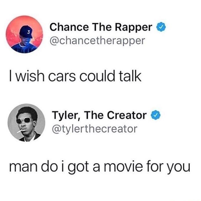 Chance the Rapper i Tyler the Creator tweet o Cars crtiću