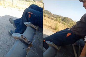 VIDEO Liku noga zapela dok se vozio u korpi bagera, evo kako je završilo