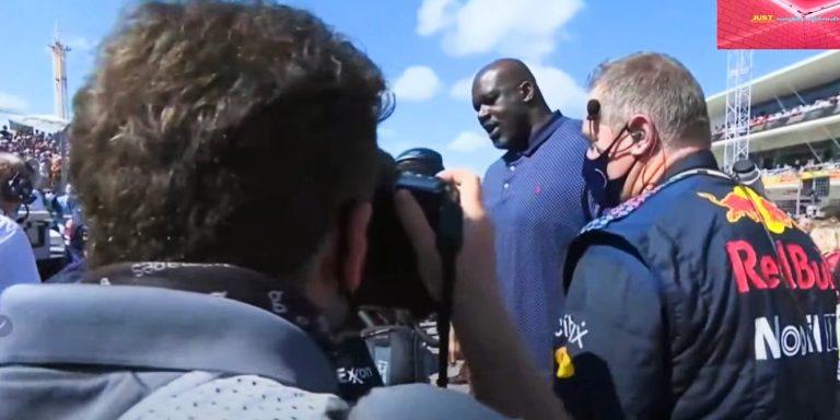 Shaq izgleda ogromno pored F1 vozača – jednako visok kao oni dok stoje na podiju